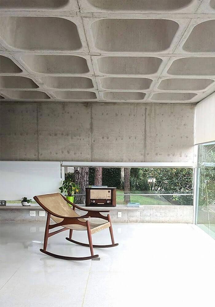 piso de concreto sala de estar Sala De Estar Com Poltrona De Balano Pele De Vidro Piso