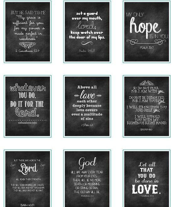 Free printable chalkboard verses! Jesus is gonna be all up in our new place :)