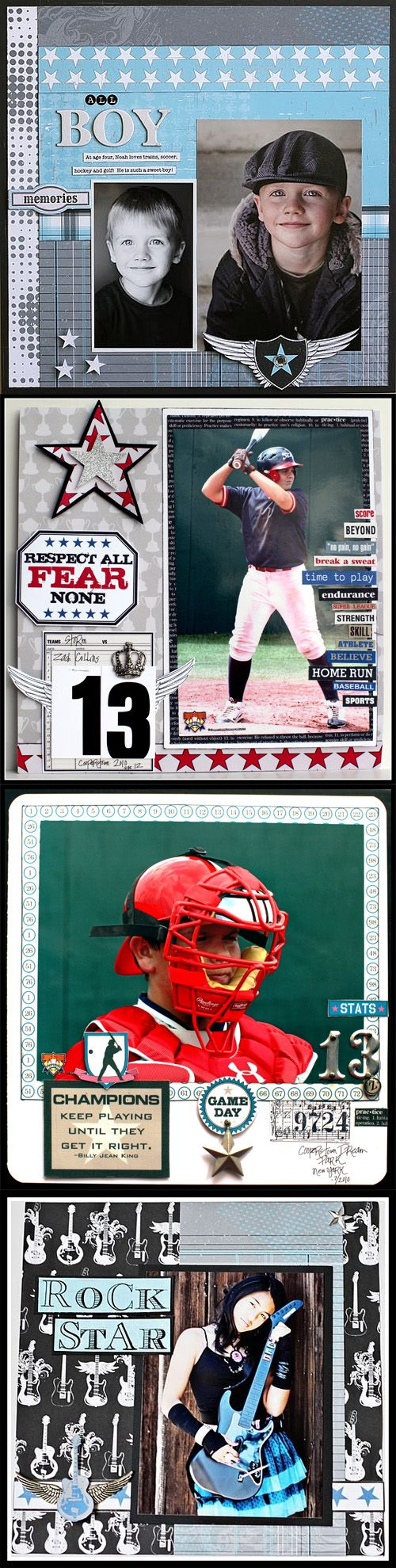 Scrapbook ideas words - I Love The Layout With The Words On The Baseball Picture Scrapbook Page Layout
