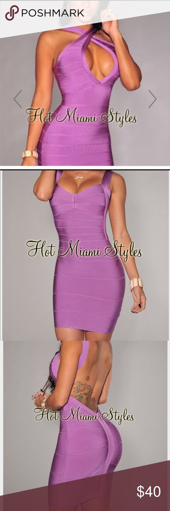 Hot Miami Styles Purple Bandage dress - small Curve hugging dress that can be worn crisscross or open. Size 0-4. Hot Miami Styles Dresses Mini