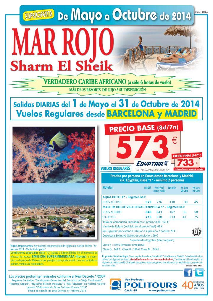 MAR ROJO - Sharm El Sheik - sal. del 18/07 al 31/10 desde Madrid y Barcelona (8d/7n) p. final 733€ ultimo minuto - http://zocotours.com/mar-rojo-sharm-el-sheik-sal-del-1807-al-3110-desde-madrid-y-barcelona-8d7n-p-final-733e-ultimo-minuto/