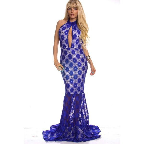 Royal blue floral lace turtle neck halter cut-out maxi dress ($24) ❤ liked on Polyvore featuring dresses, sexy dress, black party dresses, cutout dress, evening dresses, hi low dress, royalblue, halter maxi dress, sexy cocktail dresses and royal blue lace dress