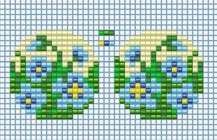 Схемы: Ромашки , Нарциссы и Незабудки  серьги (кольцо) к уроку брошей . Миниатюрки .