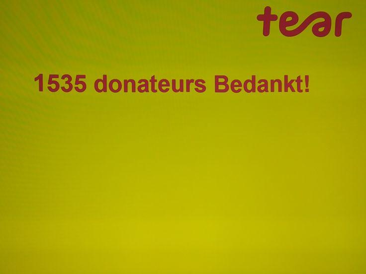 Tear medewerkers hebben vandaag bij Christal in Zwolle maar liefst 1.535 Tear donateurs bedankt!