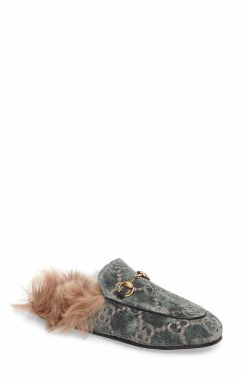 94878272f86 Gucci Princetown Genuine Shearling Lining Logo Mule (Women ...
