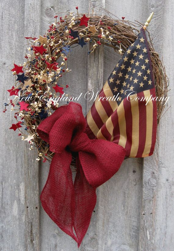 Americana Country Cottage Wreath with Tea Stained Flag by NewEnglandWreath