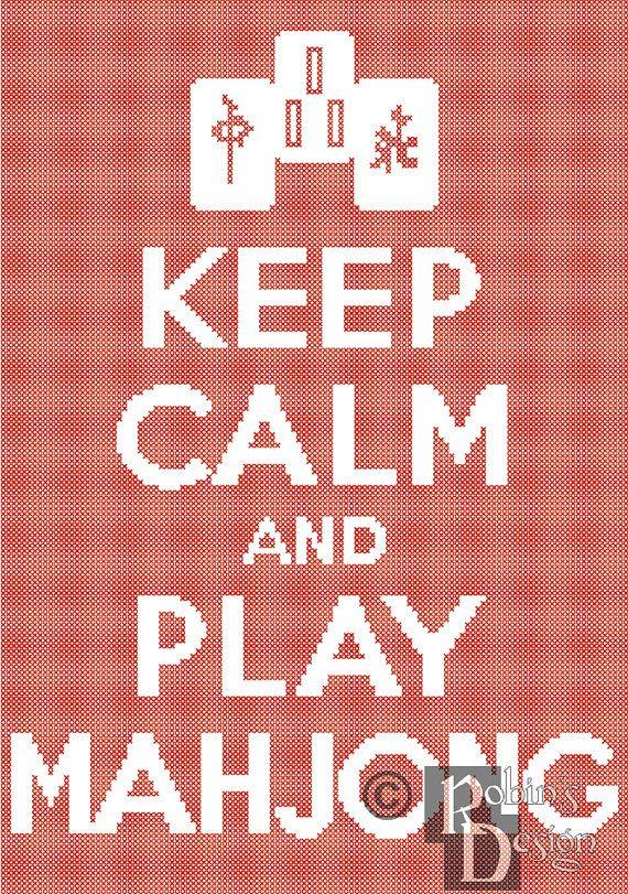 Keep Calm and Play Mahjong Cross Stitch Pattern от robinsdesign