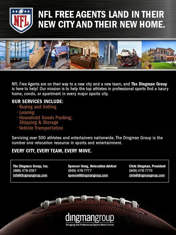 With NFL free agency officially underway, relocation is probable. If your family is moving, The Dingman Group can help!   #SpousesinSports #DingmanGroup #NFL #Relocation #RealEstate #Moving