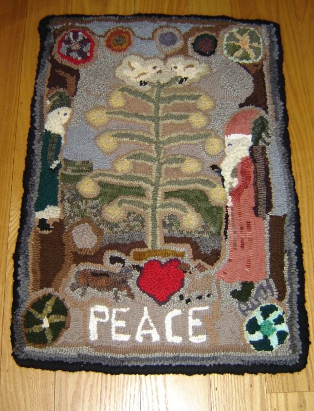 Hooked Rug Peace Completed Jan 2017