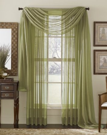 """Bought these for our Tommy Bahama inspired bedroom.  Our colors are sage green, light blue and white with chocolate brown furniture.       Amazon.com: 63"""" Long Sheer Curtain Panel - Sage Green: Home & Kitchen"""