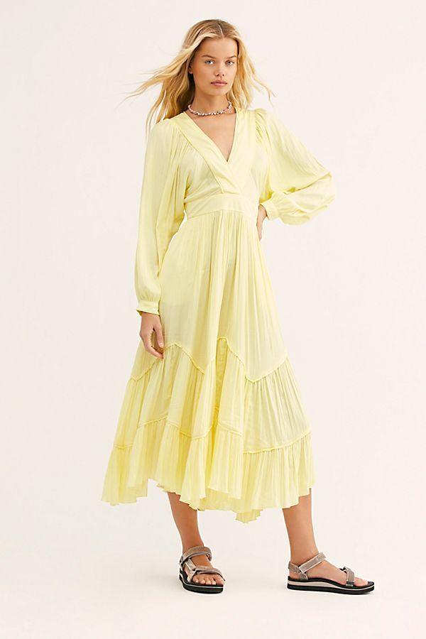 686bc1954d2b5 I Need To Know Shiny Maxi Dress - Yellow Long Sleeve Shiny Maxi Dress -  Shiny Maxi Dresses - Lemon Yellow Dresses - Flowy Yellow Maxi Dresses -  Flowy Boho ...