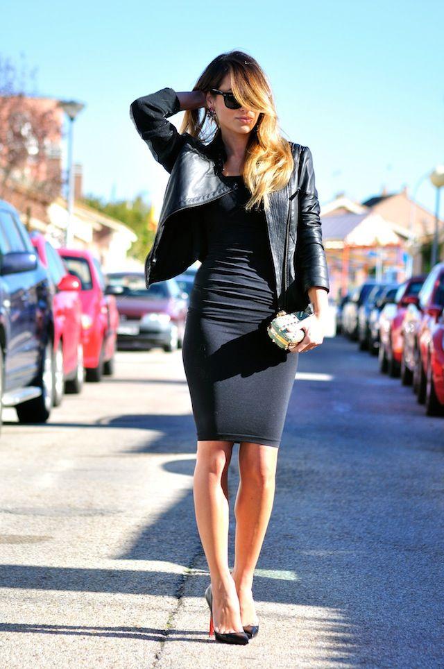 Black midi dress with leather jacket