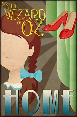 Wizard of Oz Dorothy Deco Poster Design - This art deco inspired poster design featuring Dorothy from the classic movie, The Wizard of Oz, makes a perfect addition to any fans collection. The word 'Home' compliments the other four characters designs. Go to WheeDesign.com to collect all 4 main characters including: The Scarecrow, Tin Man, Cowardly Lion and Dorothy. Our Wizard of Oz Dorothy poster design looks great on our T-shirts, hoodies and other gift items too!
