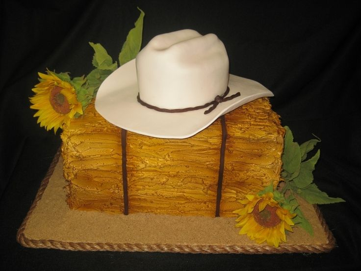 "Cowboy hat cake- Kim Porter's kids!  I would lie to take the ""hay bale"" nd use it for a ""Fall"" scene!"