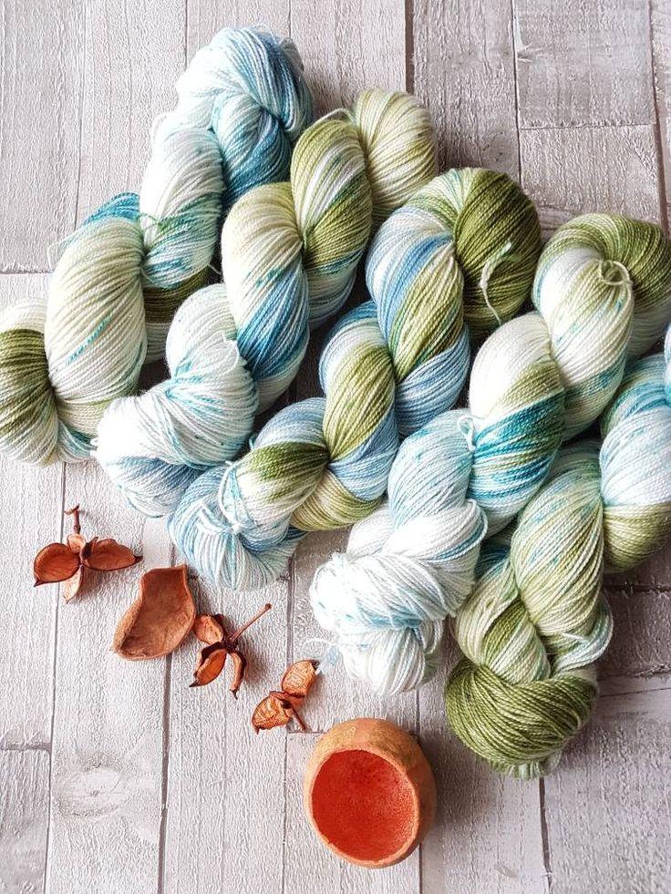 Hand dyed yarn, silver sock yarn, 4ply yarn Yorkshire Dale Yarn, Seaweed Colourway, sock yarn, speckled yarn, Indie dyer by Homespunwonders on Etsy