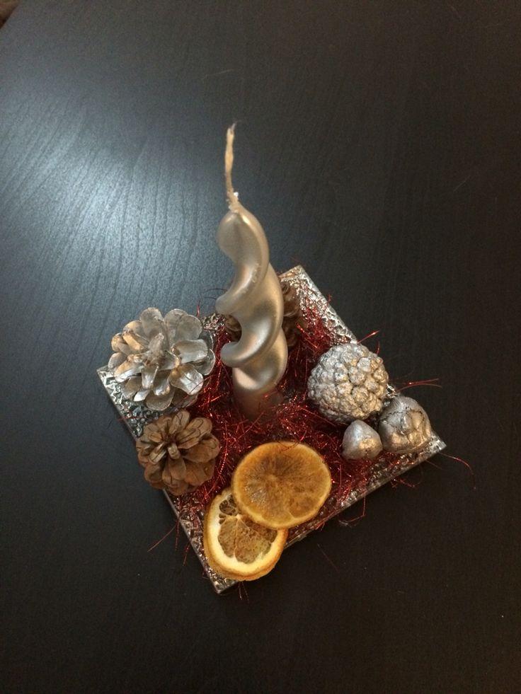 Porta candela- composizione natalizia