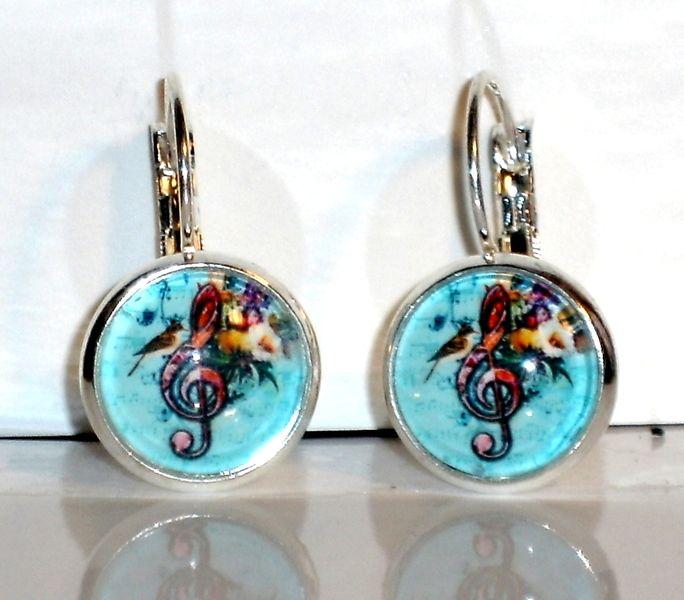 Ohrringe- Ohrringe Notenschlüssel Vogel Ohrschmuck Schmuck - ein Designerstück von ausgefallene-Ohrringe bei DaWanda
