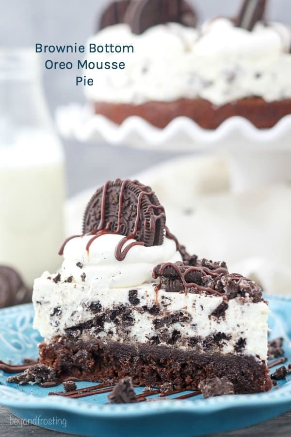 This Brownie Bottom Oreo Mousse Pie Is A Fudgy Brownie Topped With