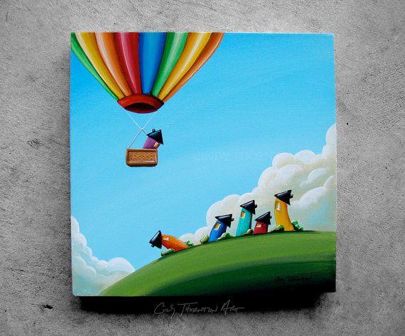 "SOLD: ""Up Up and Away"" Original Canvas Painting by Cindy Thornton #balloon #hotair #rainbow #houses #neighborhood #community #whimsical #sky #contemporaryart #nursery #landscape #fun #oz #dreamscape #imagination #home"