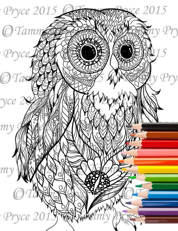 Fantasy Baby Owl Zen Doodle Adult Coloring Page Digi Stamp