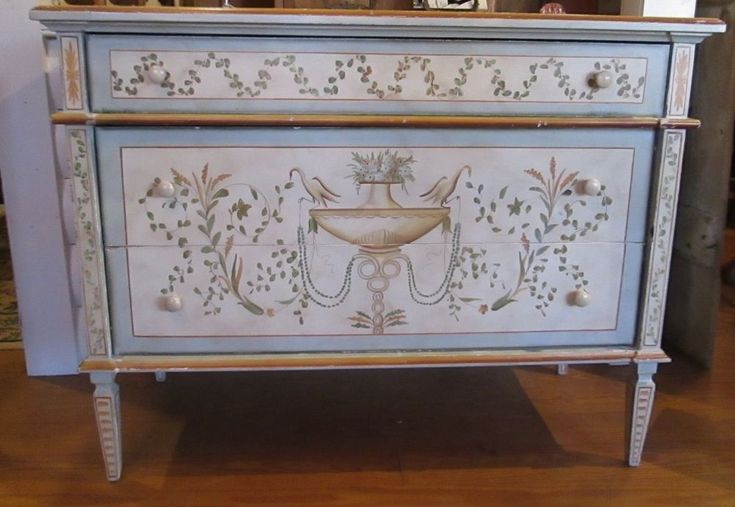 Vintage Neoclassical Adam Style Hand Painted Chest of Drawers Bureau Beautiful