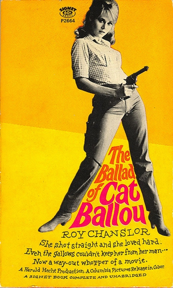The ballad of Cat Ballou ( western movie / cinema / film poster 60's cowgirl / yellow )