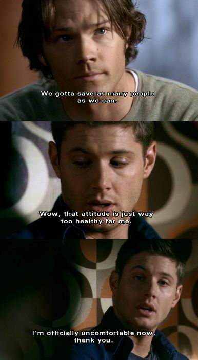 """Sam and Dean Winchester -- this is why I seriously love these two. Sam being all heroic and such, and then Dean intentionally killing the mood with some humorous comment! :D """"Playthings"""", season 2"""