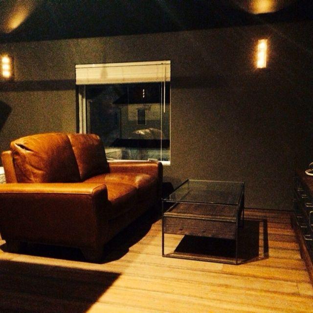 ks54さんの、部屋全体,照明,フローリング,間接照明,DIY,ブラインド,スポットライト,パイン材,塗り壁,レザーソファ,ACME FURNITURE,のお部屋写真