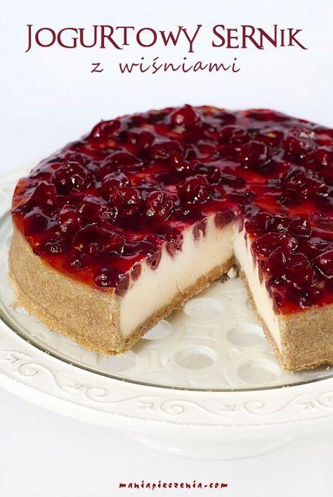 Jogurtowy sernik z wiśniami / Baked Yogurt Cheesecake with Cherries
