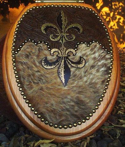 Signature Cowboy Western Decor - Tuscan Drake Fleur De Lis Decor Cowhide Toilet Seat