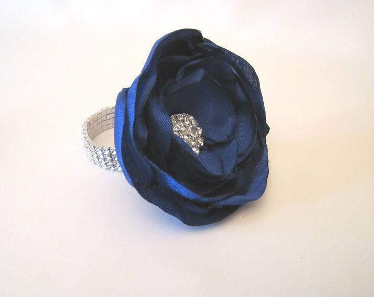 Royal Blue Wrist Corsage, Wedding Fabric Flower Bracelet, Vintage-Style Shabby Chic Mother of the Bride Keepsake Prom, Rhinestone Brooch by BellaRoseBouquets on Etsy
