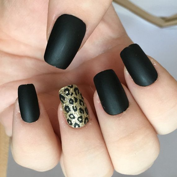 1-opaco nero Set di unghie finte unghie  ghepardo acrilico