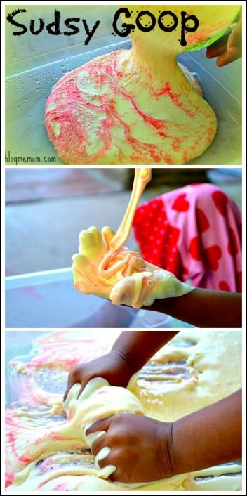 "BlogMeMom: Sudsy Goop... make soapy water with a few squirts of body wash or baby wash. Add sudsy water to cornflour. Mix until you get a batter like consistency. Add food colour ("",) RP by splashtablet.com, the cool iPad for showering with your tablet ;)"