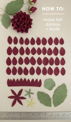 Todos los pétalos que necesitará para hacer las más bellas flores de fieltro dalia!