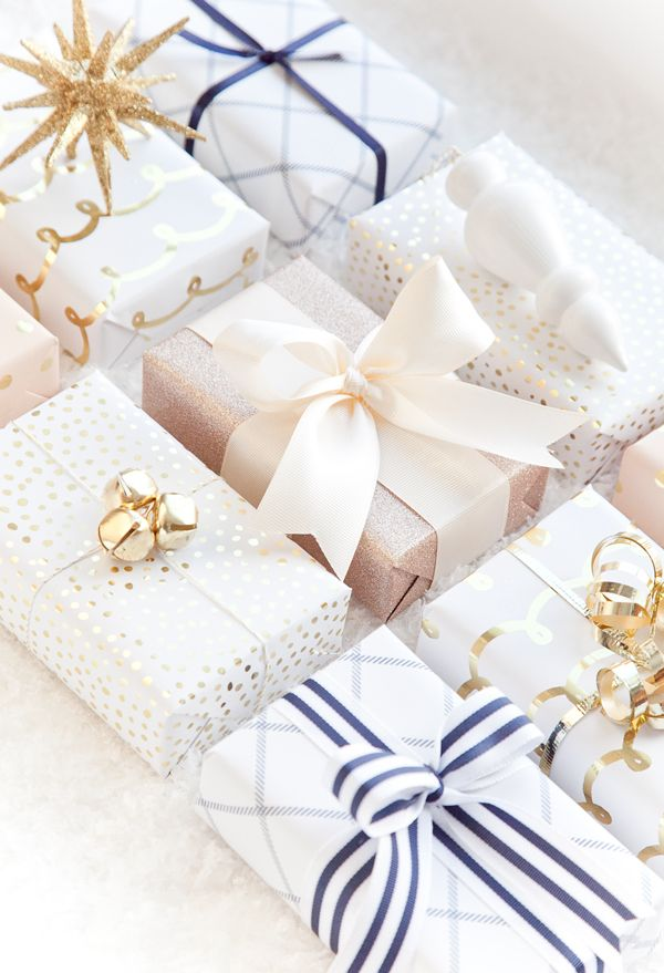 Blush, Navy and Gold Gift Wrap