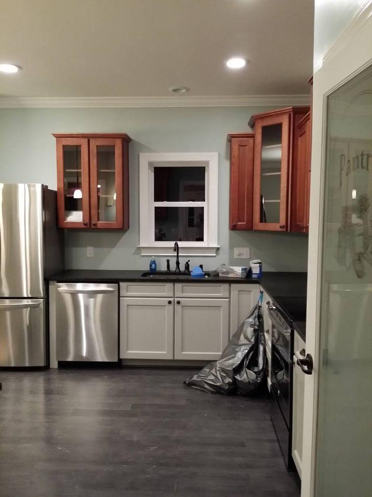 My kitchen. gray and cherry cabinets, ubatuba leathered granite, Floors Dream Home - St. James 12mm Flint Creek Oak, Benjamin Moore Palladian Blue