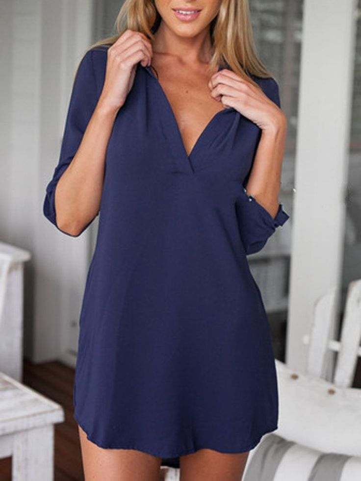 Navy Stand Collar Roll-up Sleeve Long Blouse | abaday