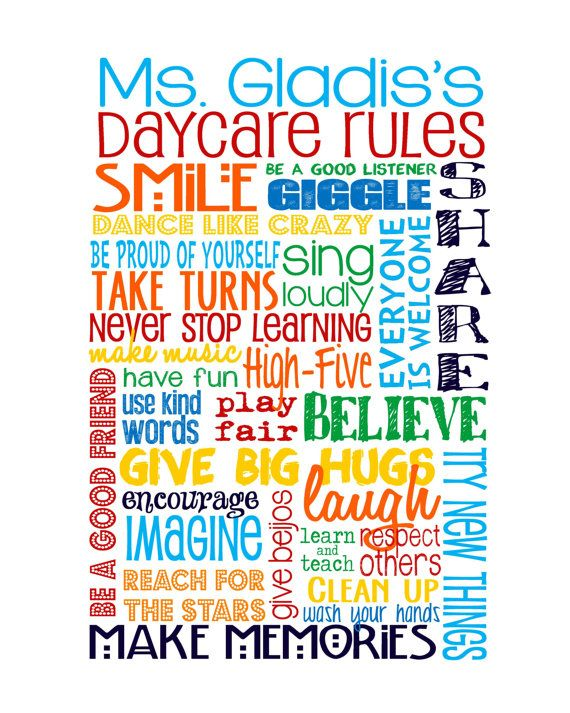 Daycare Rules - great gift for your Daycare provider! FYI Daycare parents I would LOVE something like this!!