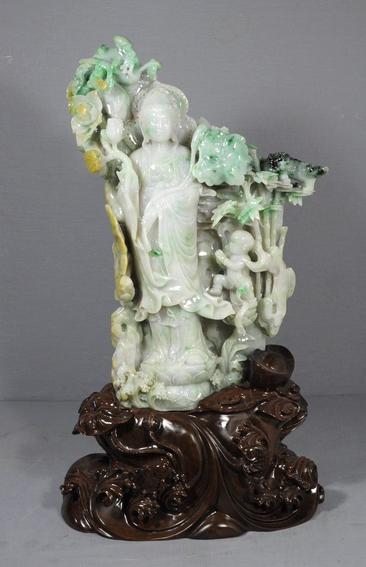 Large Well Carved Chinese Jadeite Kwan Yin Ebay