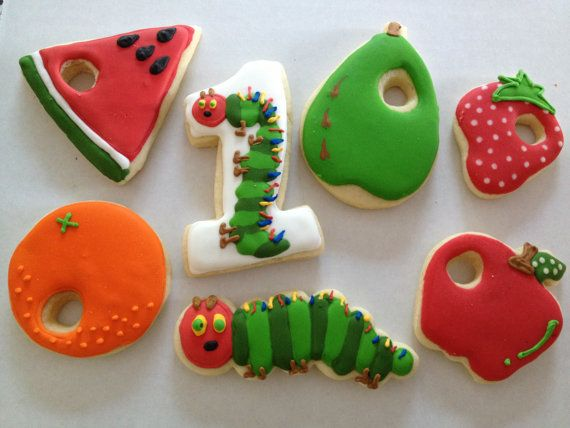 Very Hungry Caterpillar Sugar Cookies by Just4YouTreats on Etsy, $28.00