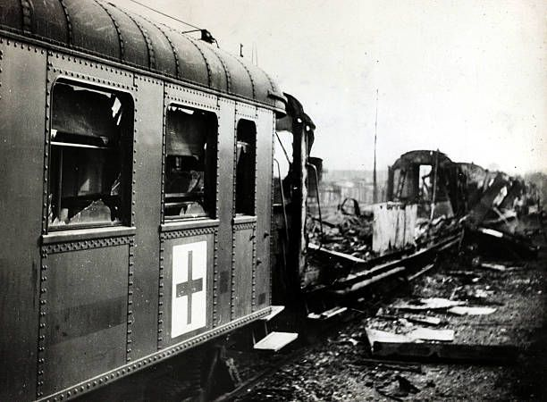 27th May 1940, The wreckage of a hospital train with clear Red Cross markings bombed by the German airforce in France, on the western front, Germany's victory in France in 1940 followed the 'Phoney War, (September 1939-April 1940) and the German breakthrough accomplished at great speed meant France was forced to surrender in June 1940 - pin by Paolo Marzioli