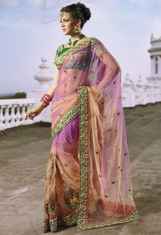Attractive Orange and Deep Pink Sari - Designer Sarees - Sarees - Women