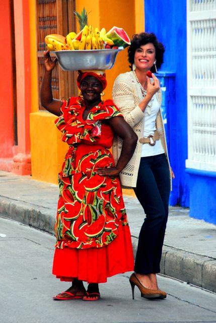 Day 177: Cosmopolitan Cartagena: Carib fruit seller and Amazonian model (Colombia)