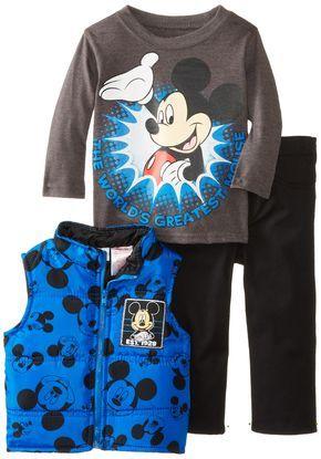 8deda1e2f Amazon.com: Disney Baby-Boys Infant Mickey Mouse 3 Piece Nylon Vest Set:  Clothing $29.99