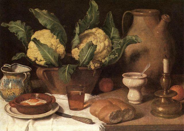 Attribuito a Carlo Magini (1720-1806) - Cavoli, pane, vino, uova in tegamino, vasi, bugia