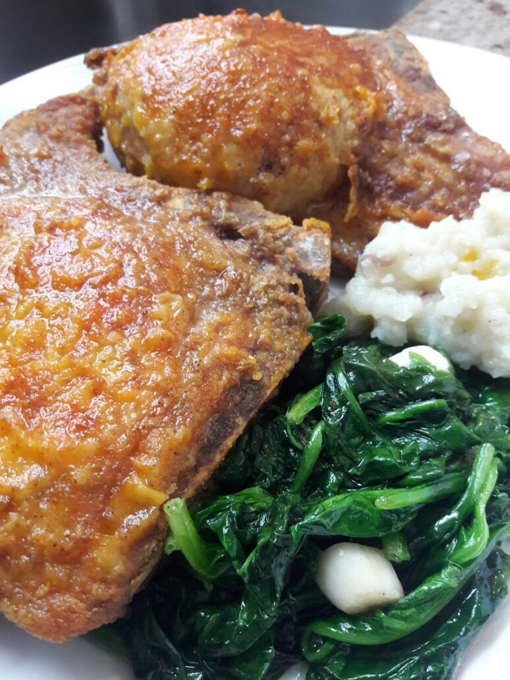 Fried Chops with Fresh Garlic Sauteed Spinach and White Turnips