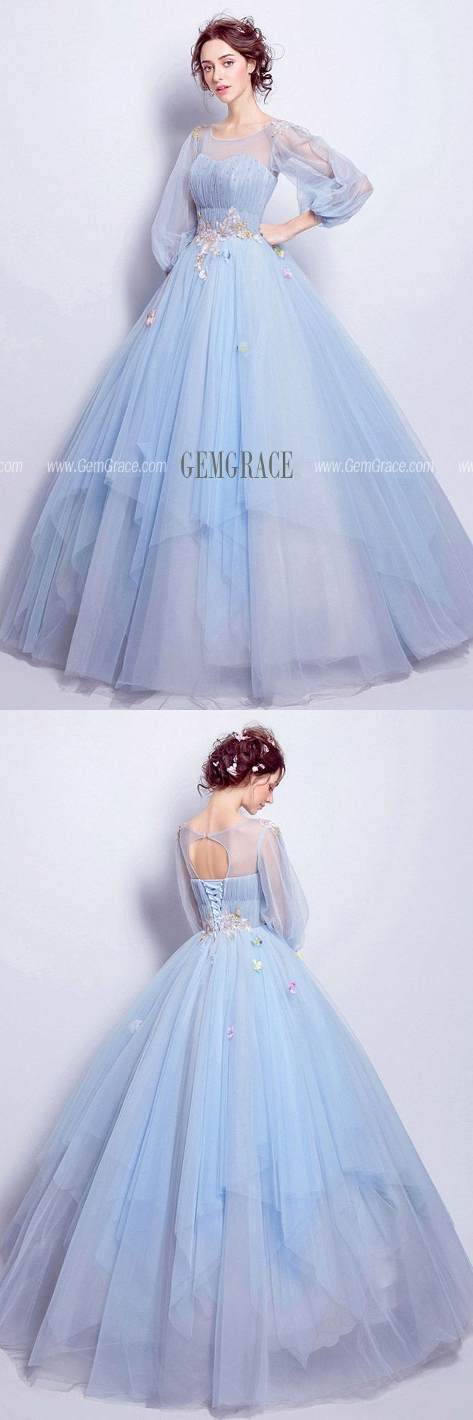 Cinderella Blue Ball Gown Prom Dress With Puff Sleeves For Quinceanera Ref#T6952…