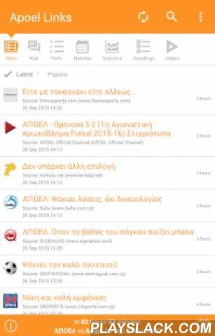 Links & News For APOEL FC  Android App - playslack.com , Get informed for all Apoel news and articles links gathered from major sports websites in CyprusEverything you need to know about Apoel FC:Push notifications to keep you informed for every new links added in the appCountdown till next matchPopular links sectionMatches, Fixtures & Results with highlightsWall, post your comments, opinions, questions and thoughts!Polls with ability to suggest your own pollTeam StatisticsLeague…