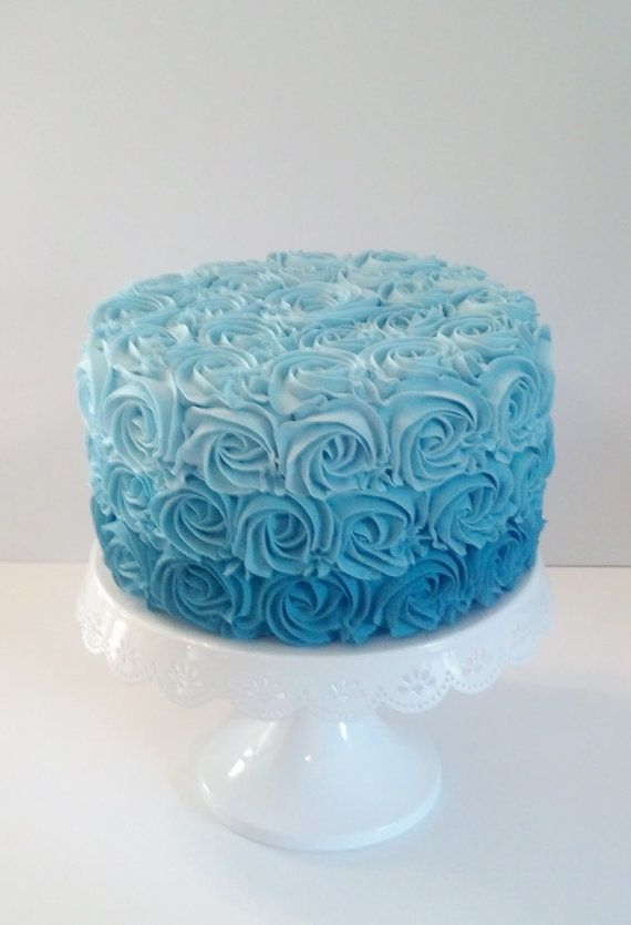 Aqua Blue Ombre Rosette Fake Cake Photo Props, Shabby Cottage Home Accents, Birthday Party Decorations, Shop Displays, Wedding Cake Props