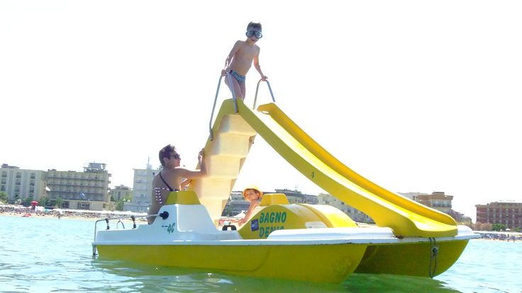 a nice pedal boat with a slide